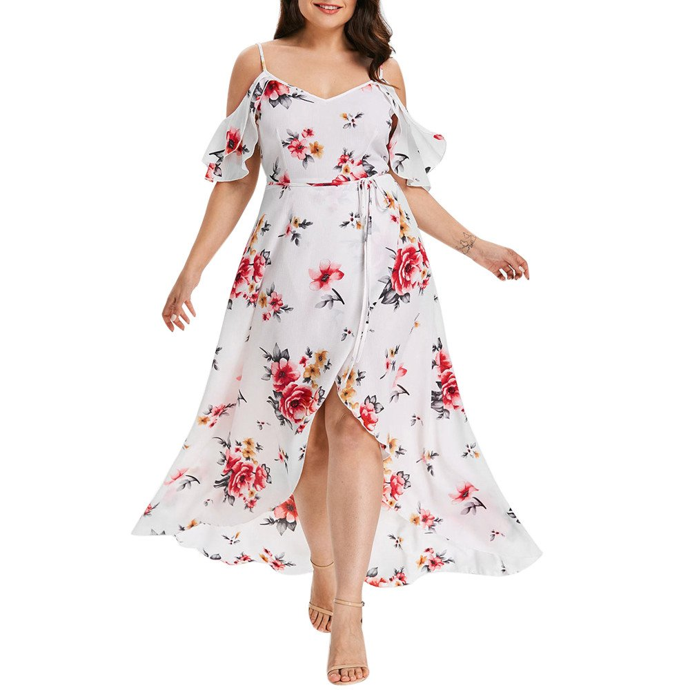 Twinsmall Off Shoulder Short Sleeve Floral Dress, Women's 2019 Casual Cold Shoulder Boho Party Long Maxi Dress (L, White)