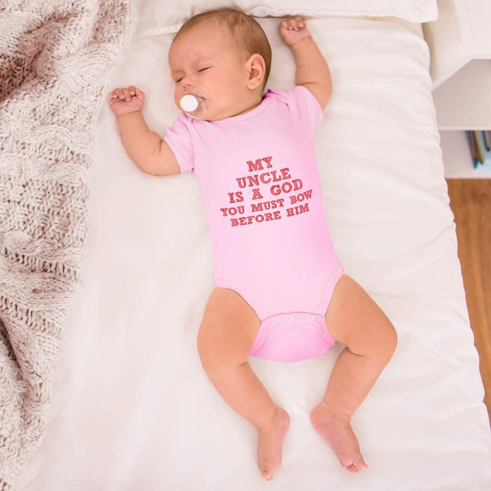 """Uncle Baby Bodysuit /""""My Uncle is a God You Must Bow Before Him/"""" Funny baby grow"""