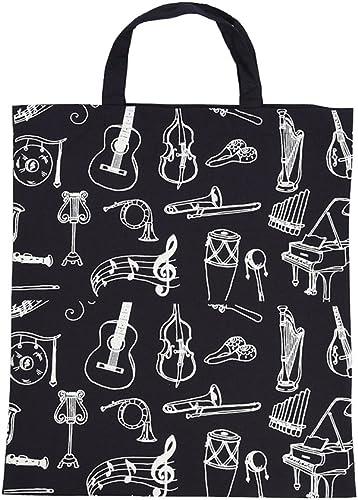 ammoon Dibujos Animados Instrumentos Musicales Patrones Lavables Bolso de Tela de Algodón Música de Asas Grocery Hombro Bolsa de la Compra para Estudiantes Chicas: Amazon.es: Instrumentos musicales