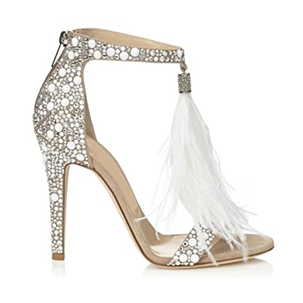 0d72d8908fe Women s Rhinestone Feather Tassel Sandals Girls Fashion Party Wedding Heels