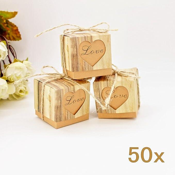 69 opinioni per JZK 50 LOVE cuore marrone scatolina scatola portaconfetti portariso bomboniera