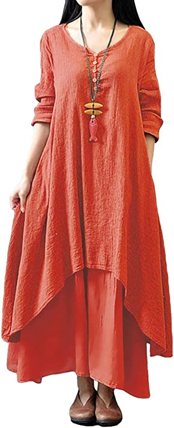 TALLA L. Romacci Vestido Suelto Vestido Ocasional de Las Mujeres Manga Larga Sólida Maxi Vestido Largo de Boho Naranja