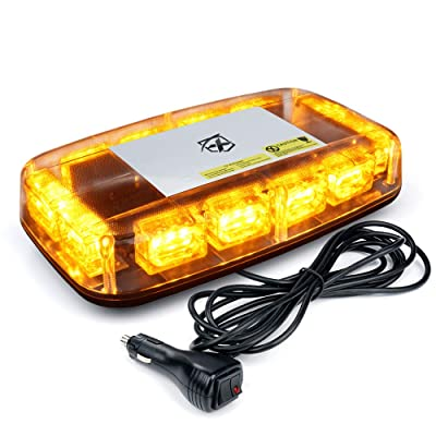 "[Upgraded] Xprite Amber LED Rooftop 12"" Mini Emergency Strobe Lights Bar, 15 Flash Modes Hazard Warning Caution Beacon Light Magnetic Base for Safety Truck Construction Vehicles Postal Cars Snow Plow: Automotive"
