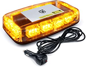 """Xprite Amber LED Rooftop 12"""" Mini Emergency Strobe Light Bar, 15 Flash Modes Hazard Warning Caution Beacon Lights w/Magnetic Base for Safety Trucks, Construction Vehicles, Cars, Snow Plow"""