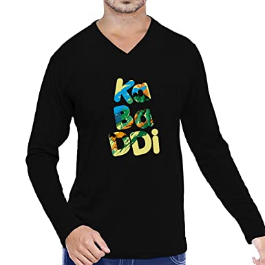 360a344e469 Pooplu Men`s Kabaddi Cotton Printed V Neck Long Sleeves Black   White T  Shirt.Kabaddi