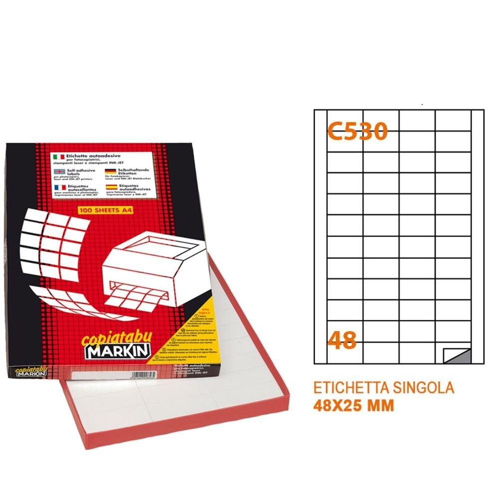 Autoadesive Formato 48X25 Mm, 4800 Etichette, Confezione Da 100 Fogli Formato A4 Di 48 Etichette, Incluso Il Software Gratuitamente 60051