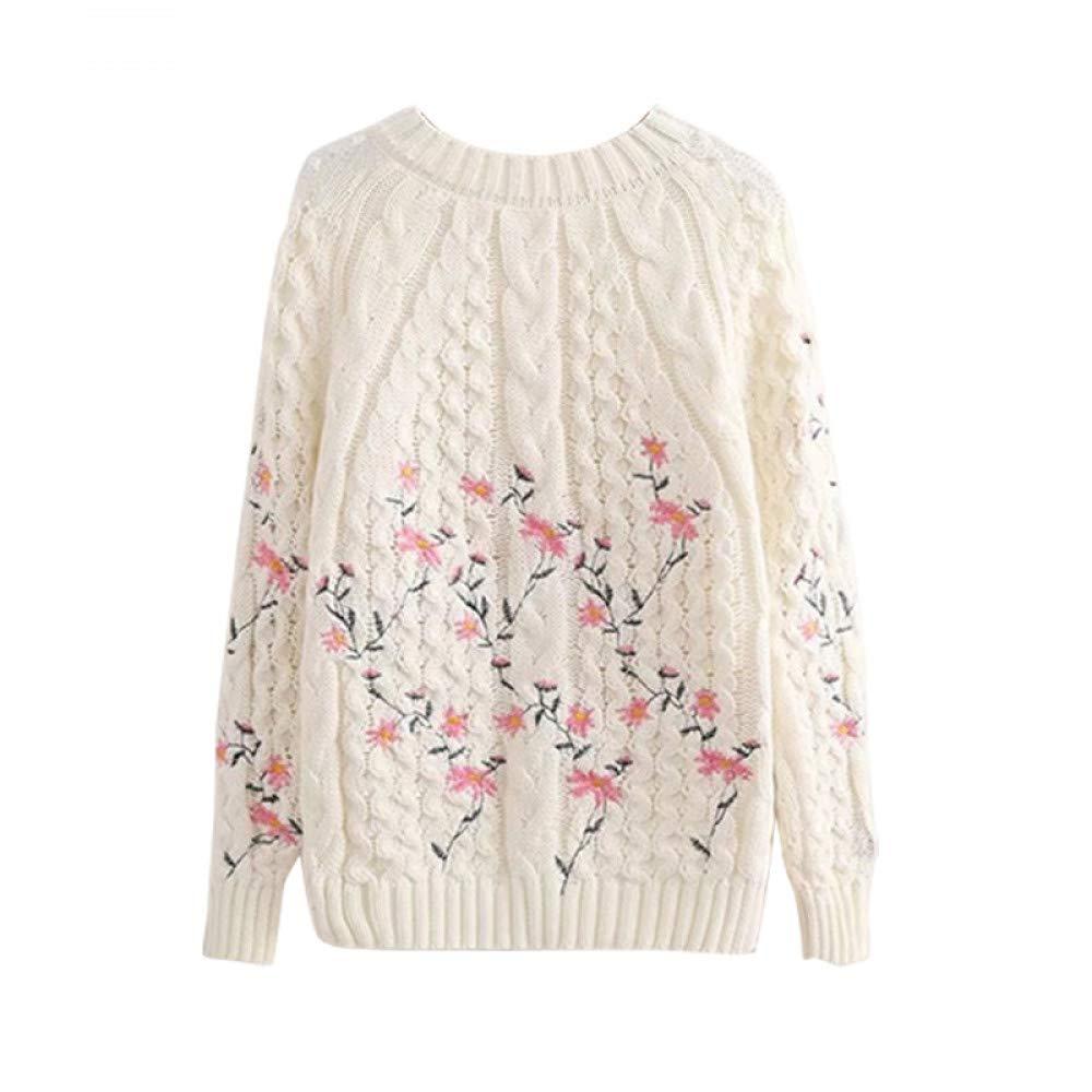 FUHENGMY Pullover Frauen Süße Temperament Hohlen Blumenstickerei   Pullover Warme Pullover Gestrickte Langarm Pullover Weibliche Übergröße