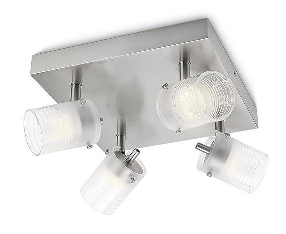 Plafoniere Quadrate Philips : Philips 532696716 toile lampada da soffitto quadrata 4 faretti a led