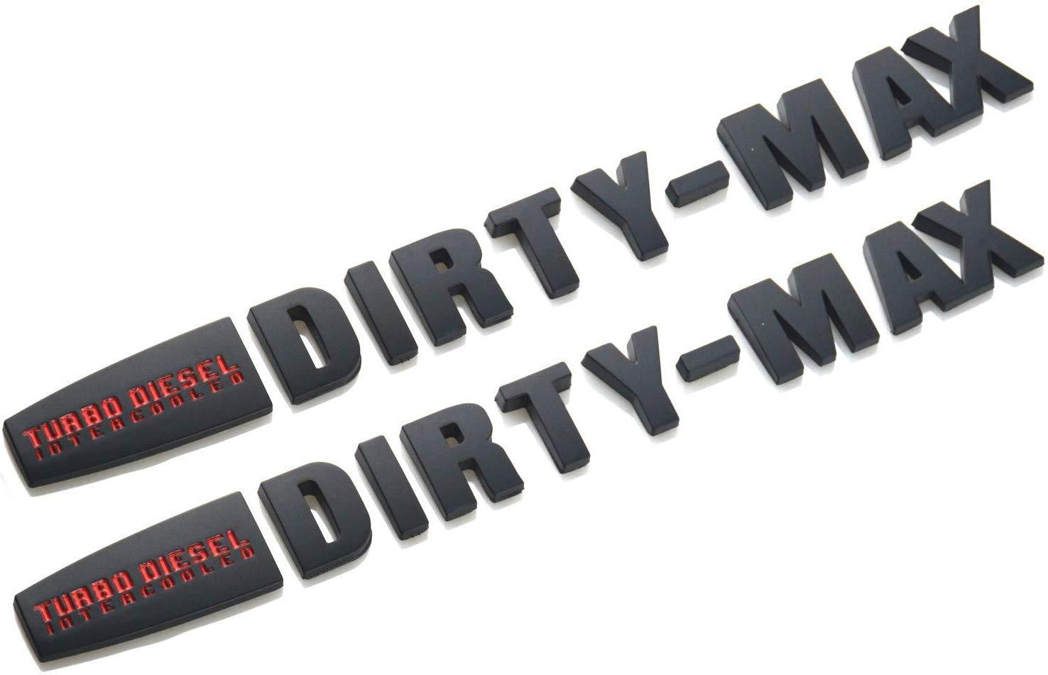 Red Black 2Pcs Turbo Diesel INTERCOOLED Dirty MAX Duramax Badge Emblem Sticker