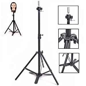 Wig Stand Tripod with Foot Pedal Adjustable Hair Mannequin Head Stand with Metal Fixing Base for Wig Making Hair Styling SJJN