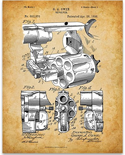 Revolver Patent Print - 11x14 Unframed Patent Print - Great Gift for Gun Owners