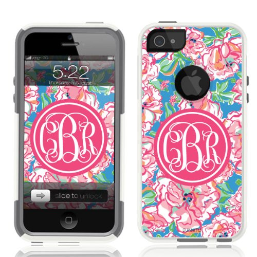 Unnito iPhone 5 Case - Commuter Case for iPhone 5S Case - Hybrid Slim Cover With Hard Shell and Soft Inner Layer For Apple iPhone 5/5S/SE White Case - Lilly Pink Monogram (Pink Monogram Iphone)