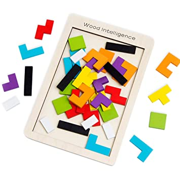Buself Tetris Holzpuzzle Spielzeug Ab 3 Jahren Jungen Tetris Tangram Holzpuzzles Lernspiele Ab 2 3 4 5 6 Jahre Geburtstag Junge Geschenk Puzzle Holz