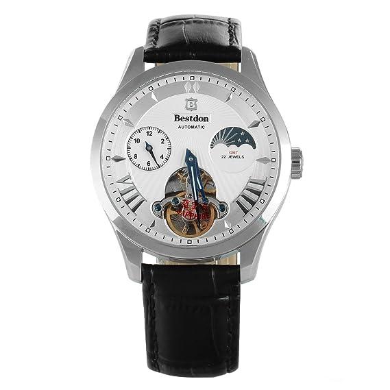 bestdon de los hombres Kinetic Reloj Automático Tourbillon fase lunar dos tiempo zona con correa de