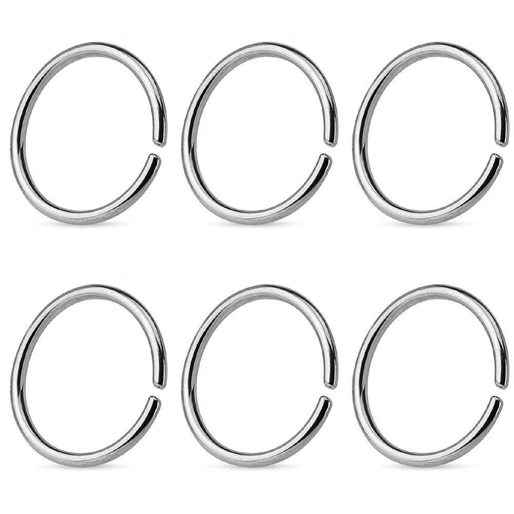 FORYOU FASHION Stainless Steel 22G Nose Rings Hoop Cartilage Ear Septum Piercings 8mm
