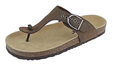 310ed2e22 OUTWOODS Women s Bork-37 Vegan Leather Adjustable T-Strap Thong Sandals (10  B
