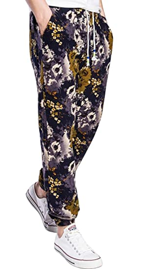f2c17fd59b SBABY Mens Slim Fit Printing Straight Leg Cotton Mid Waist Casual Pants 1 M