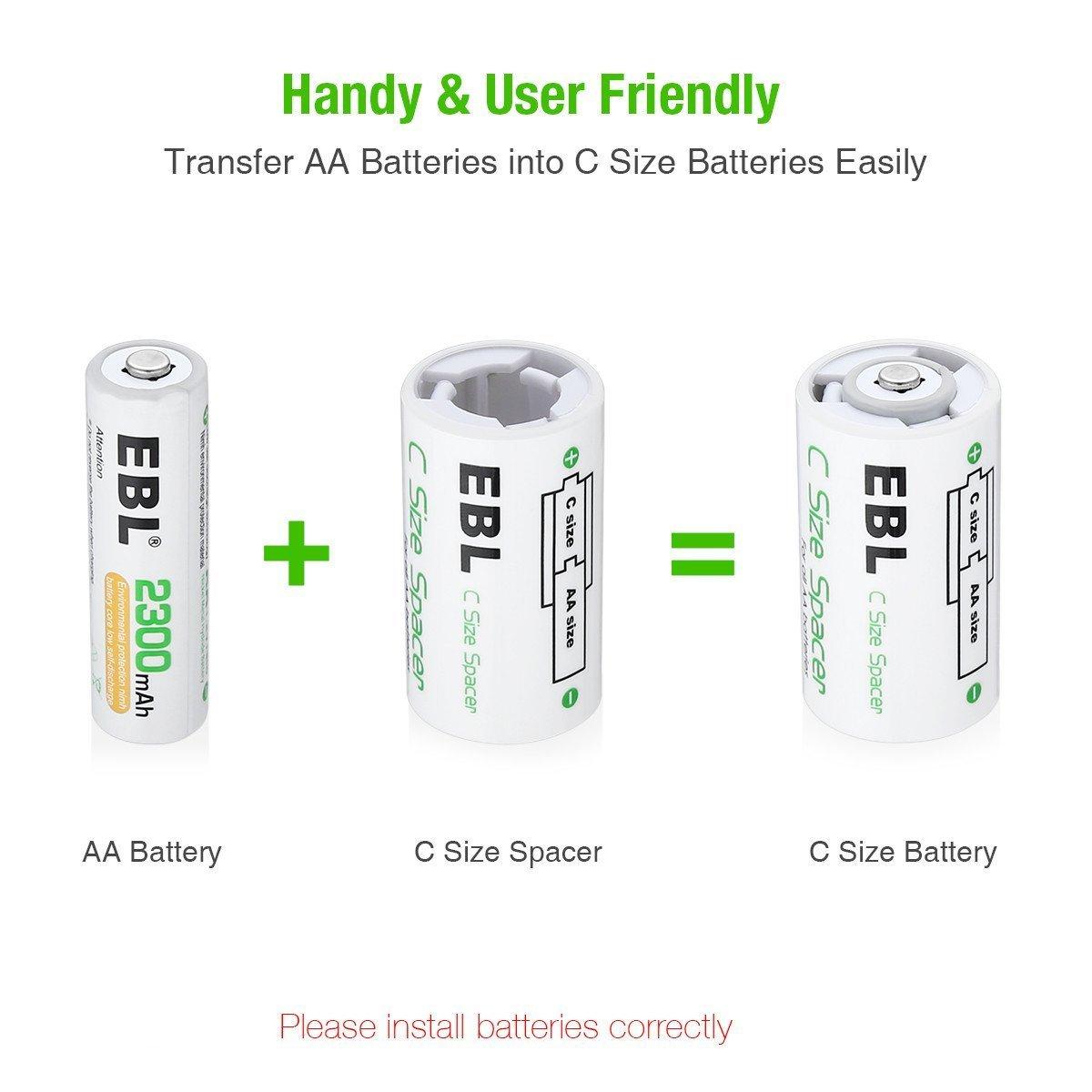 EBL 4 Unidades Cajas de Baterías AA a C