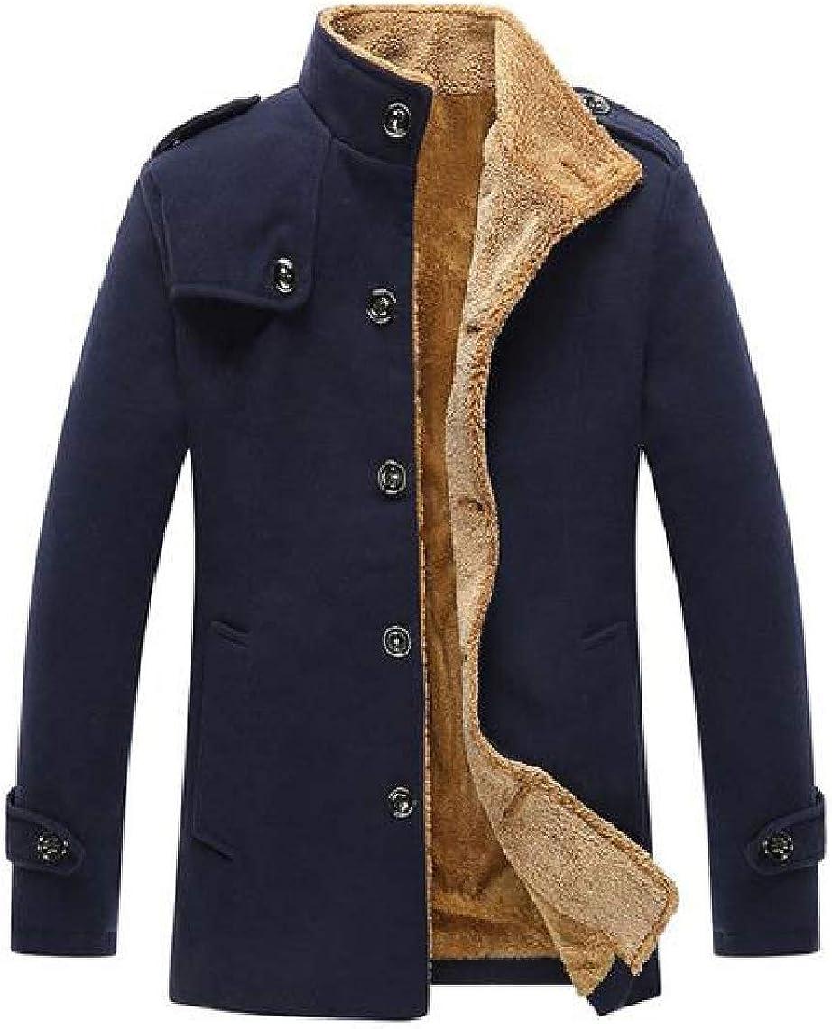 KaWaYi Mens Stand Collar Warm Single-Breasted Woolen Winter Pea Coat Jacket