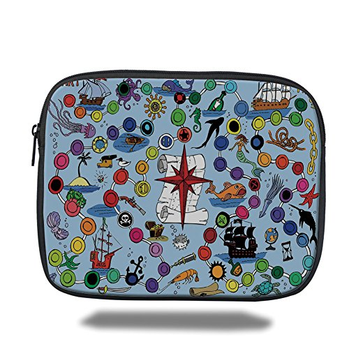 Laptop Sleeve Case,Board Game,Pirate Themed Game Start and Finish Colorful Spots Sea Animals Nautical Symbols Decorative,Multicolor,iPad Bag by iPrint