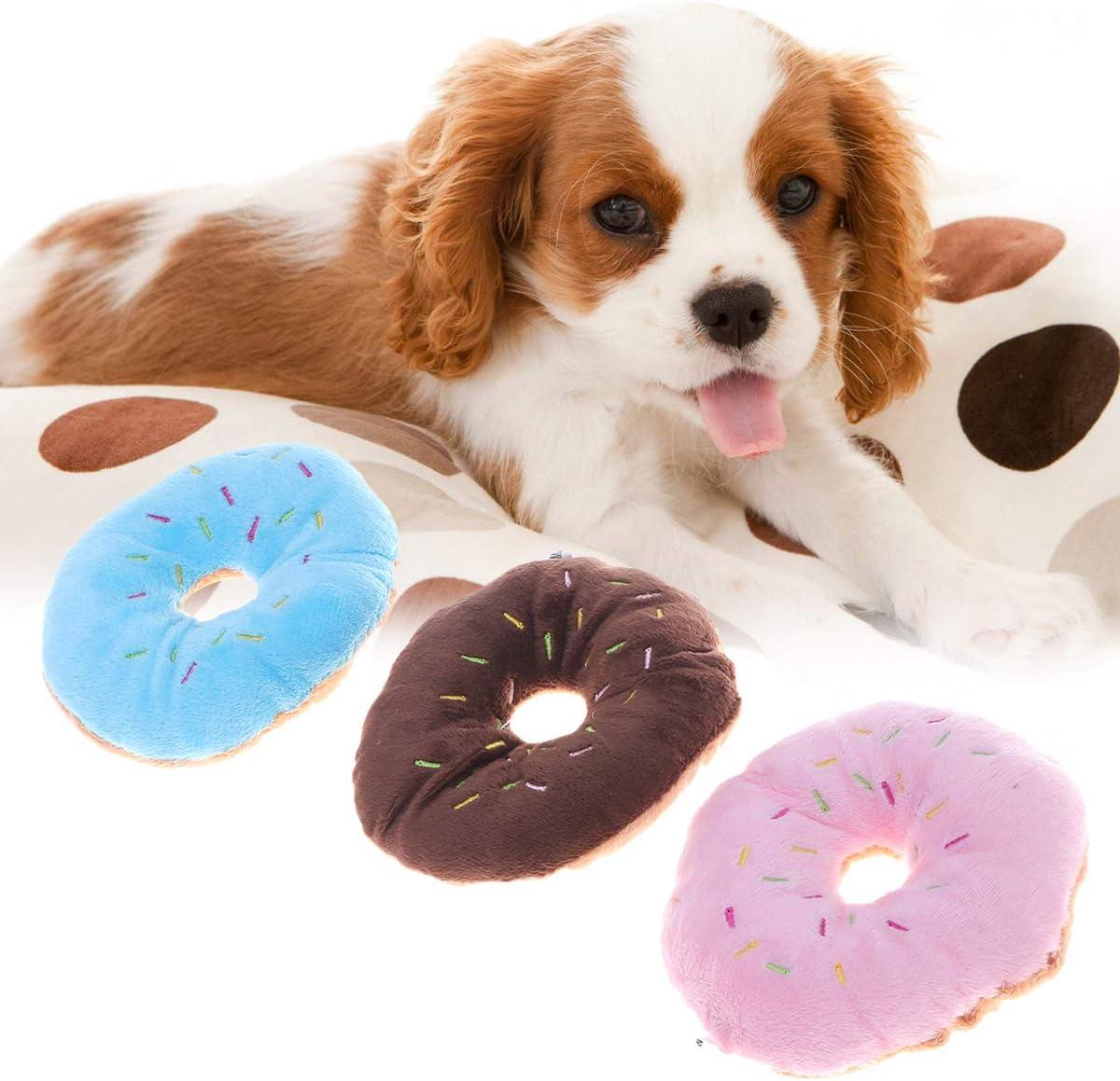 Giocattolo da Masticare per Cani Morbido Peluche 6 Pezzi a Forma di Ciambella Toyvian Suono sonoro