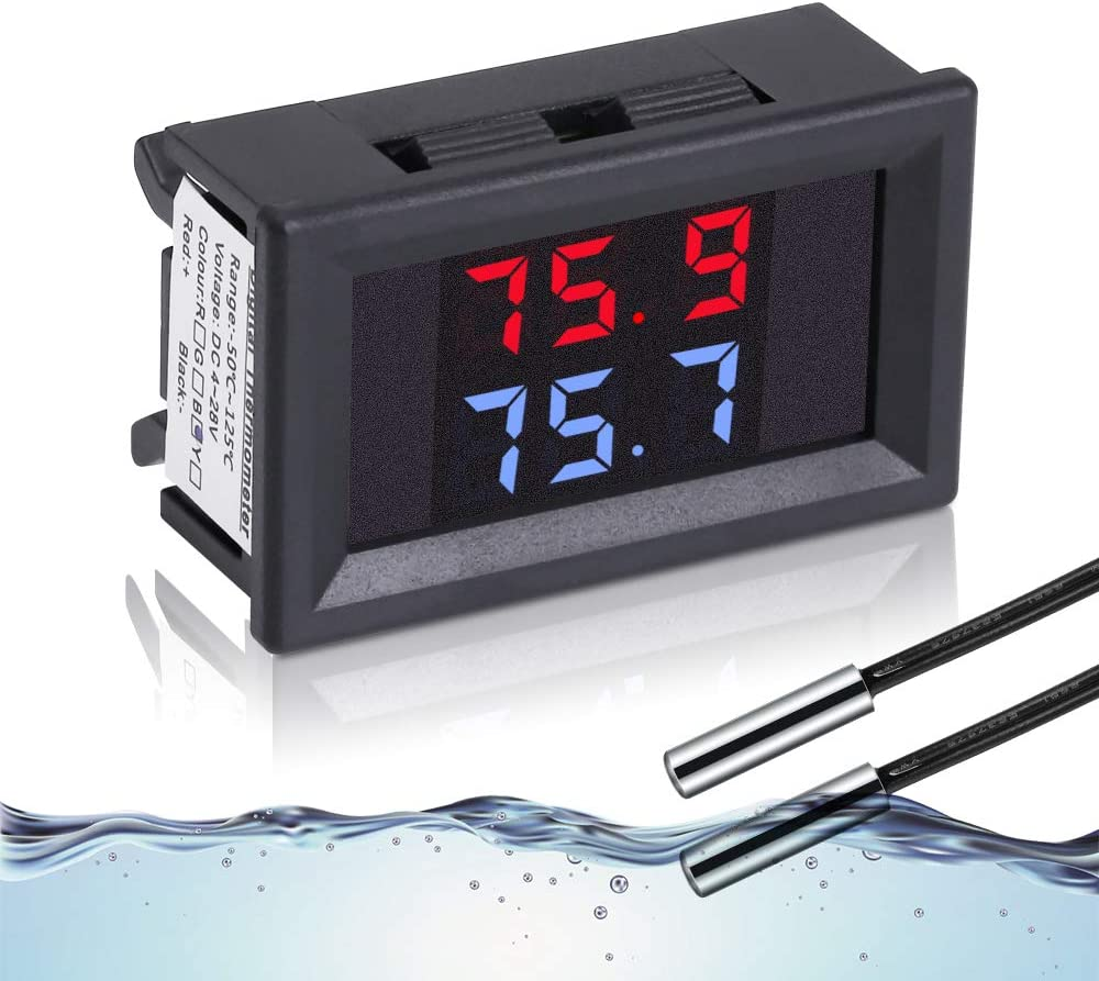IS Icstation Digital Thermometer with 2 NTC Waterproof Probes LCD Temperature Gauge Sensor DC 4-28V Fahrenheit Dual Display for Aquarium Vehicle Fish Tank Refrigerator