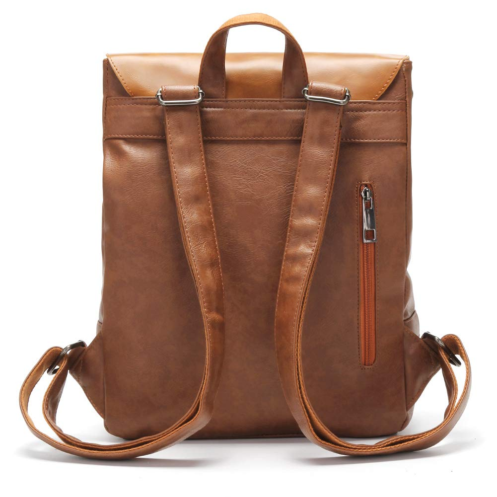LXY Vegan Leather Backpack Vintage Laptop Bookbag for Women Men, Brown Faux Leather Backpack Purse College School Bookbag Weekend Travel Daypack by LXY (Image #5)