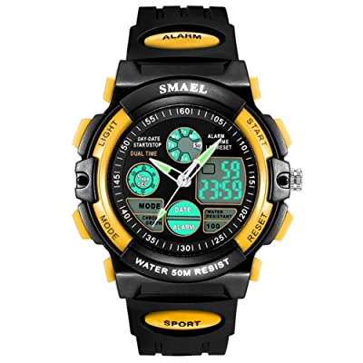 Alarm Digital Analog Waterproof Sport Kids Wristwatch Boys Watch
