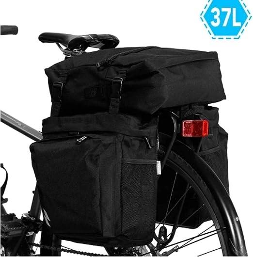 Bicicleta manillar Bolsas Bicicleta de ciclo del transporte de carga 37L Asiento 3-en-1 multi-funcional de bicicletas Pannier MTB bici del camino posterior del tronco bolsa Impermeable: Amazon.es: Hogar