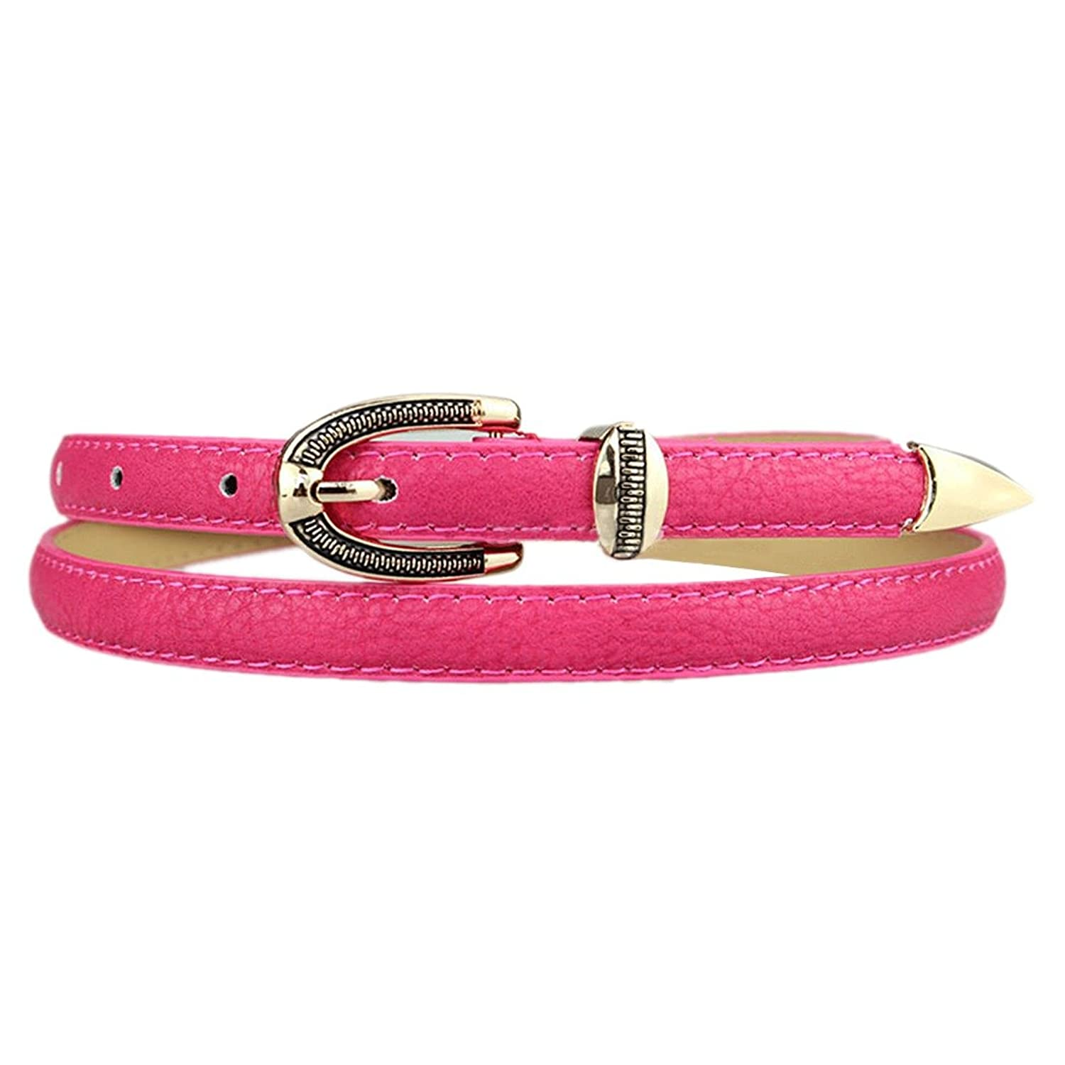 Vintage Women Colorful Waist Belt PU Leather Metal Buckle Thin Skinny Waistband