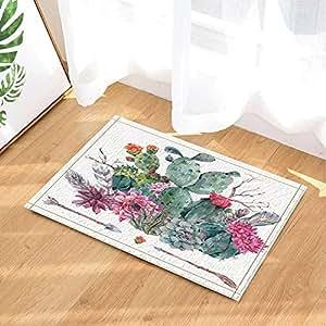 CDHBH Alfombrilla de baño para niños con diseño de flores de cactus de acuarela y flores, antideslizante, con flechas de estilo bohemio y alfombras de baño, para entrada de suelo, interior y frontal, 40 x 60 cm