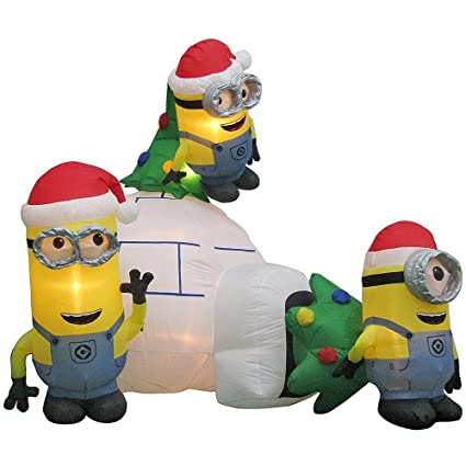 despicable me minion made minions scene airblown inflatable christmas decoration 8ft - Christmas Minions