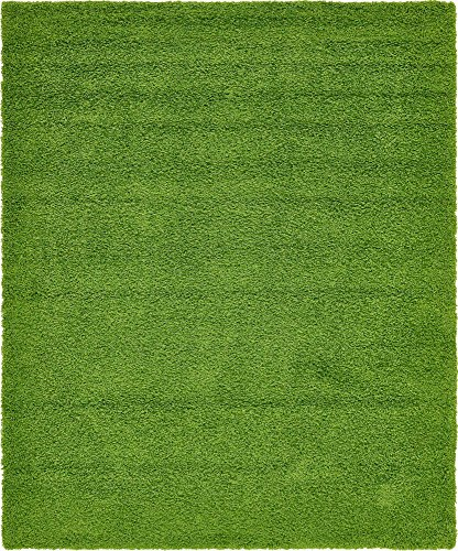 - Unique Loom Solo Solid Shag Collection Modern Plush Grass Green Area Rug (8' 0 x 10' 0)