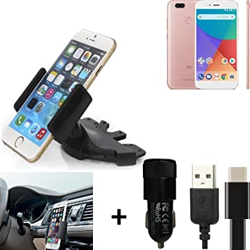K-S-Trade® TOP SET para Xiaomi Mi A1 Soporte Ranura de CD Smartphone coche
