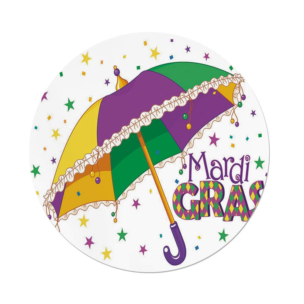 Polyester Round Tablecloth,Mardi Gras,Parade Preparations Umbrella Stars Confetti Figures Joyful Fun Party Decorative,Purple Yellow Green,Dining Room Kitchen Picnic Table Cloth Cover,for Outdoor Indo