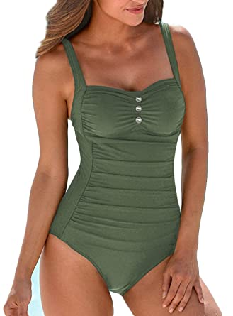 c16bf897158 Upopby Women's Retro Tummy Control One Piece Swimsuits Monokini Push Up Bathing  Suits Swimwear Army Green