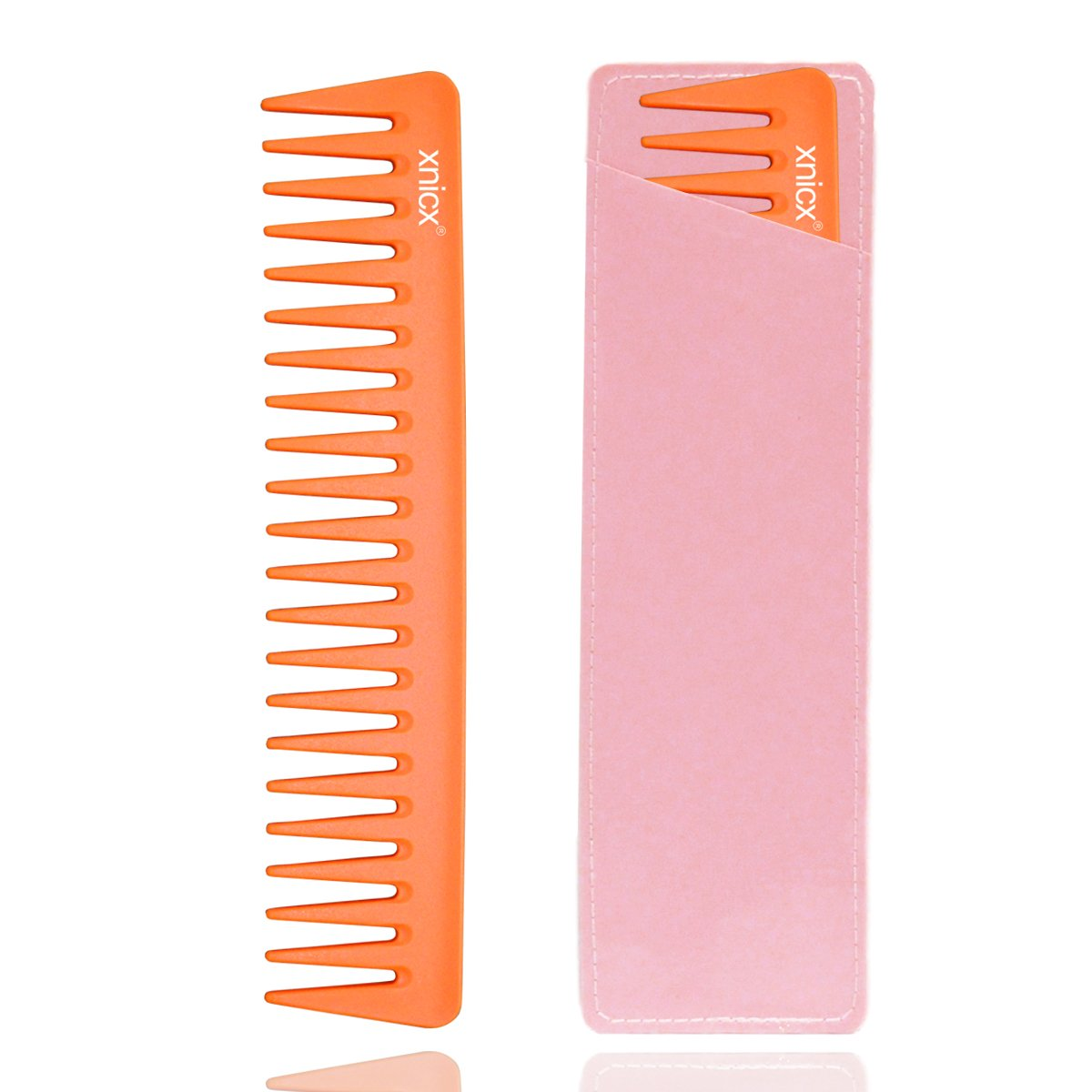 xnicx 605 Pink Barber Comb 180℃ Heat Resistant Cutting Comb Frizz off Fine Cutting Grip Comb Hairdressing Comb Master Barber Comb with shallow coarse and fine tooth-14 holes
