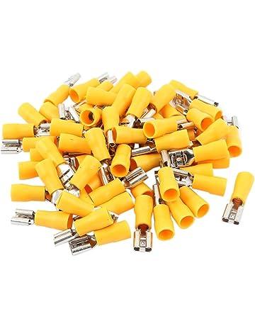 50 X 6.4 mm Amarillo Completamente Aislado Terminales Eléctricos Crimp Hembra 12-10AWG
