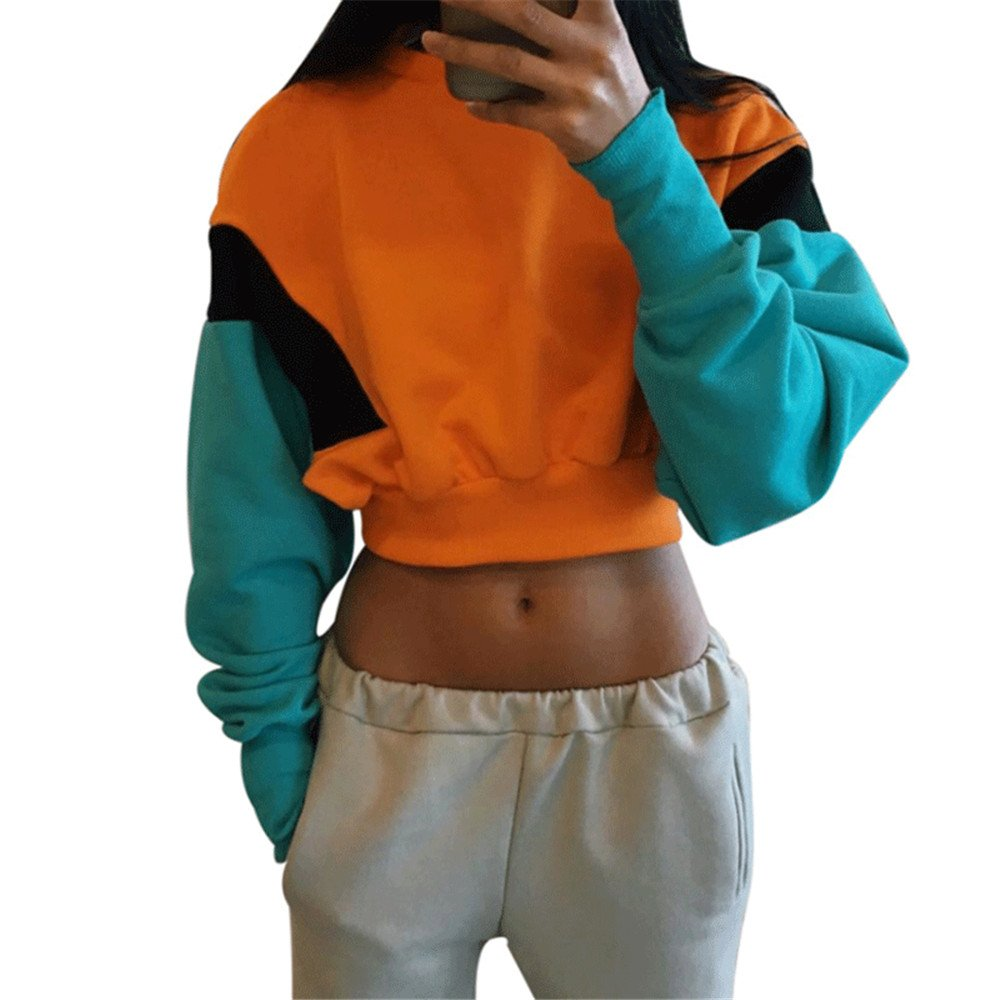 K BAO Women's Spring Autumn Fashion Casual Orange Hoodies Sweatshirt Long Sleeve Loose Crop Top Casual Patchwork Pullover (M)