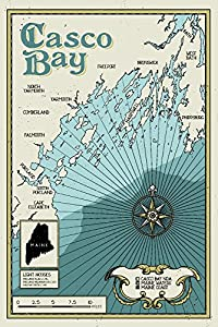 Casco Bay, Maine - Nautical Chart (16x24 Giclee Gallery Print, Wall Decor Travel Poster)