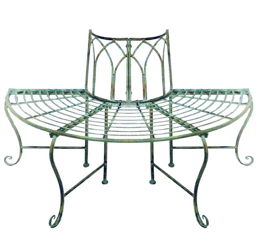 1/2 Round Tree Bench/plant Stand - Wrought Iron - Antique Mint Green Finish