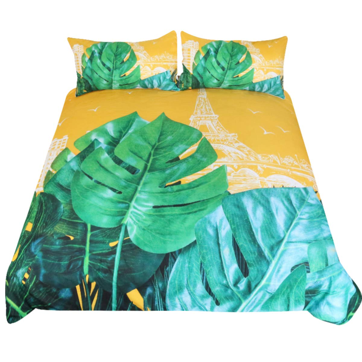 Sleepwish Yellow Green Bedspread 3 Piece Tropical Summer Plant Duvet Cover Paris Eiffel Tower Bedding Set King