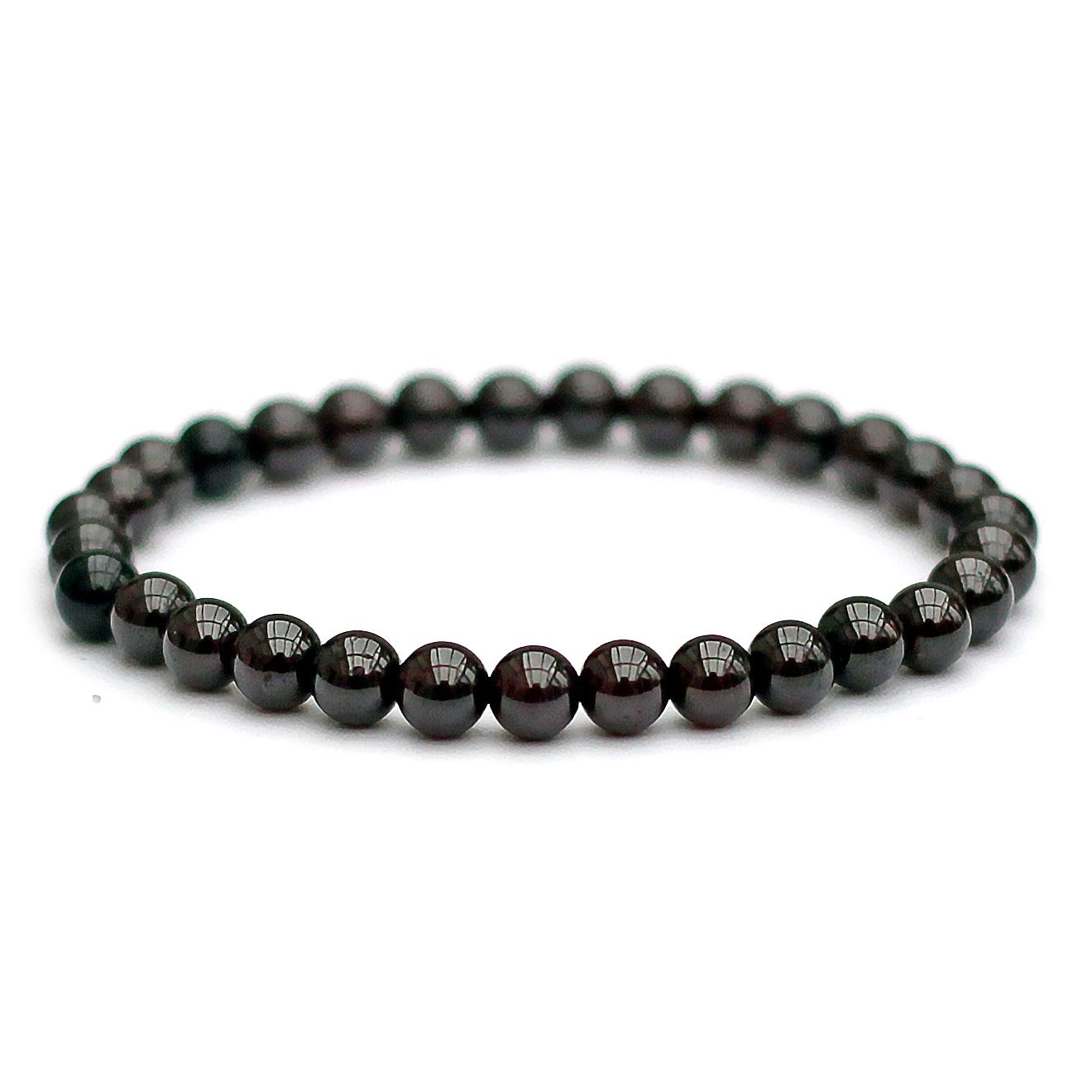 Black Tourmaline Bracelet, 6mm Genuine Semi-Precious Gemstones, Unisex Stretch Fit (16.5cm)