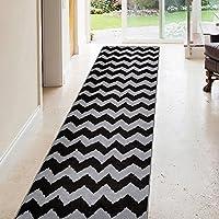 Rubber Backed 31 x 10 BLACK Chevron Long Runner Rug Non-Slip Entry, Hallway & Kitchen Runner 3X10