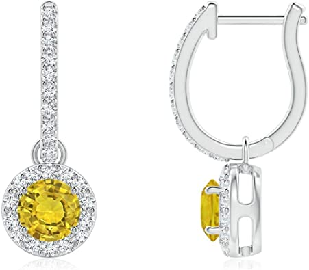 Dangle Drop Bridesmaid Simulated Yellow Sapphire Earrings 8.50 TCW Cushion Cut Yellow Sapphire Diamond Wedding Earring 925 Sterling Silver