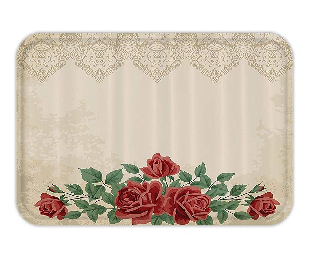 Doormat Shabby Vintage Glamour Background with Red Rose Love and Attraction Symbol Delicacy Fabric Bathroom Decor Set with Hook Extra Long Beige Green.jpg Ustcyla
