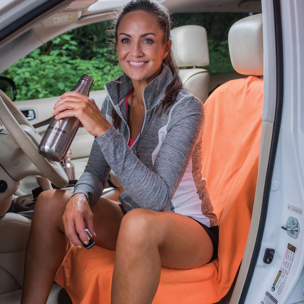 Run/'s Done Protective Car Seat Cover Orange Moisture-wicking, Machine Washable, Non-Slip Back, No Straps Needed