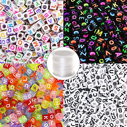 Quefe 1000pcs 4 Color Acrylic Alphabet Letter Beads with 1 Roll Elastic Crystal String Cord for Jewelry Making Kids DIY Necklace Bracelet(6mm) -