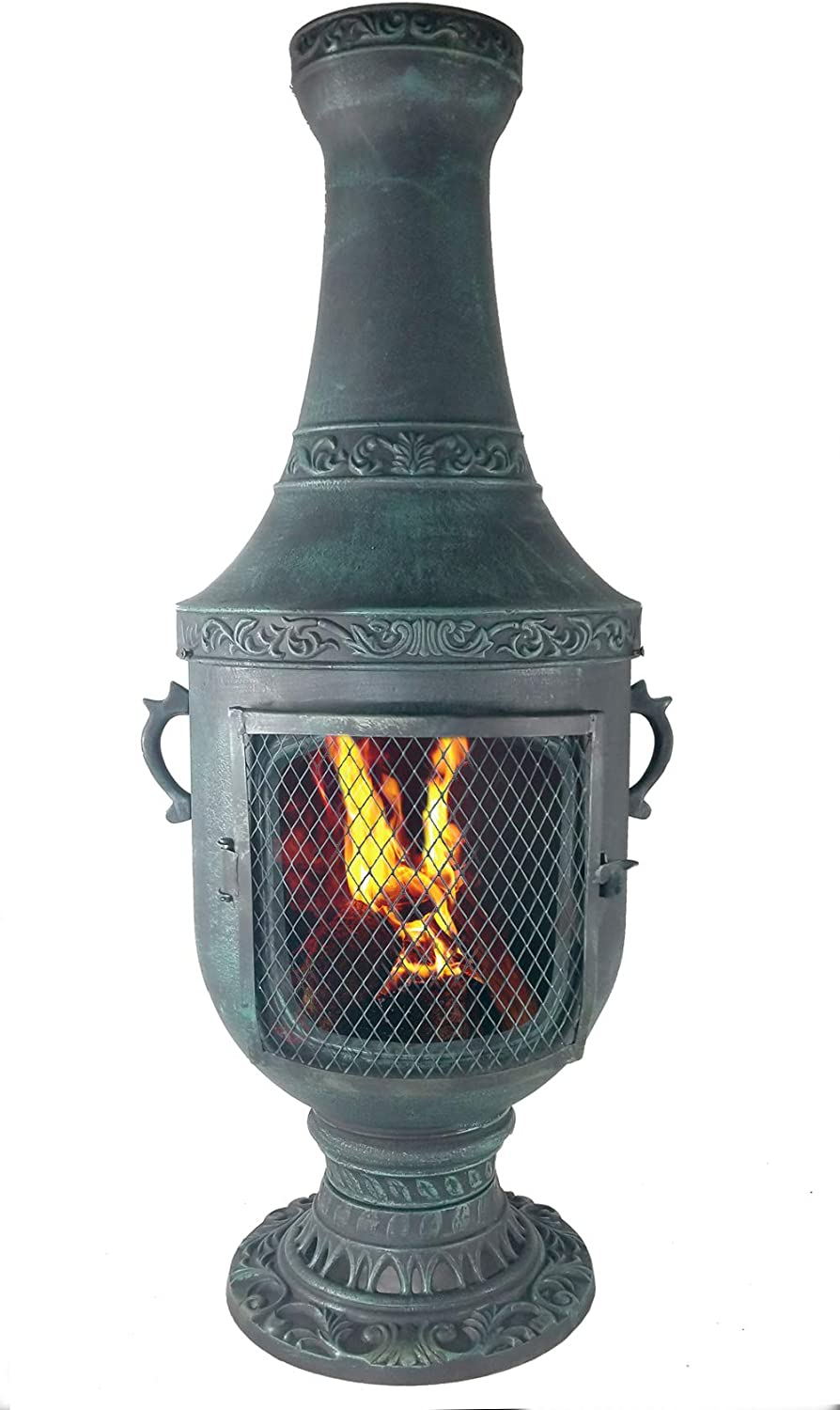 The Venetian Grill Oven Chiminea in Antique Green CAST Aluminum