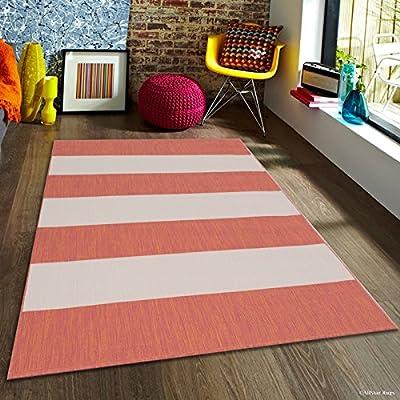 Terracotta Allstar Indoor Outdoor All Weather Rug with Zebra Pattern
